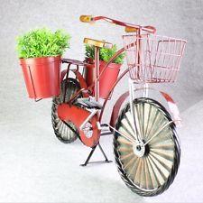 Bicicleta Roja Jardín de Plantas Maceta Maceta Hierro Madera Titular de pie clásica Decorar