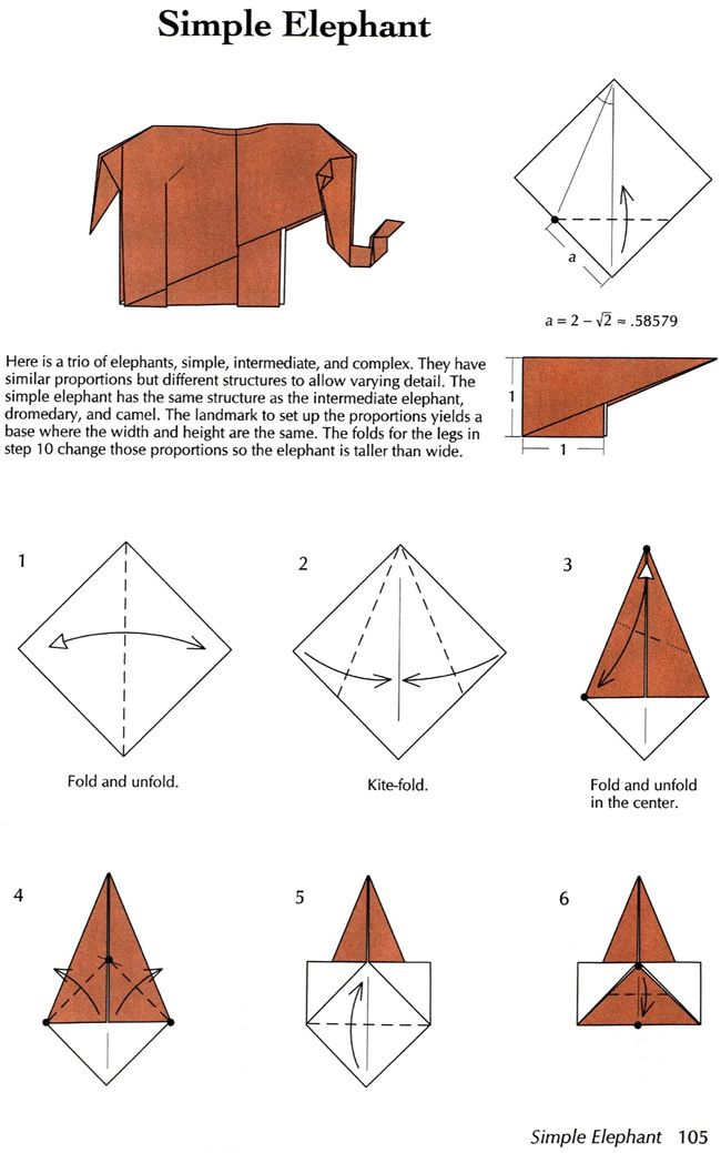 From Origami and Math: Dover Publications - Simple Elephant 1 of 2