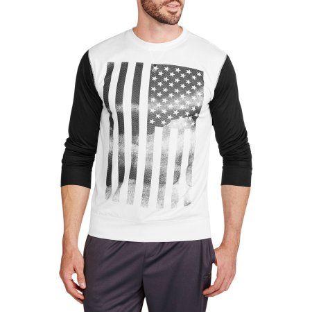 Big Men's Long Sleeve American Flag Fleece Crew, Size: 2XL, Black