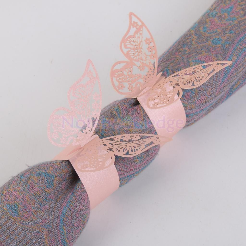 50Pcs Pink Butterfly Napkin Ring Holder Party Wedding Prom Table ...