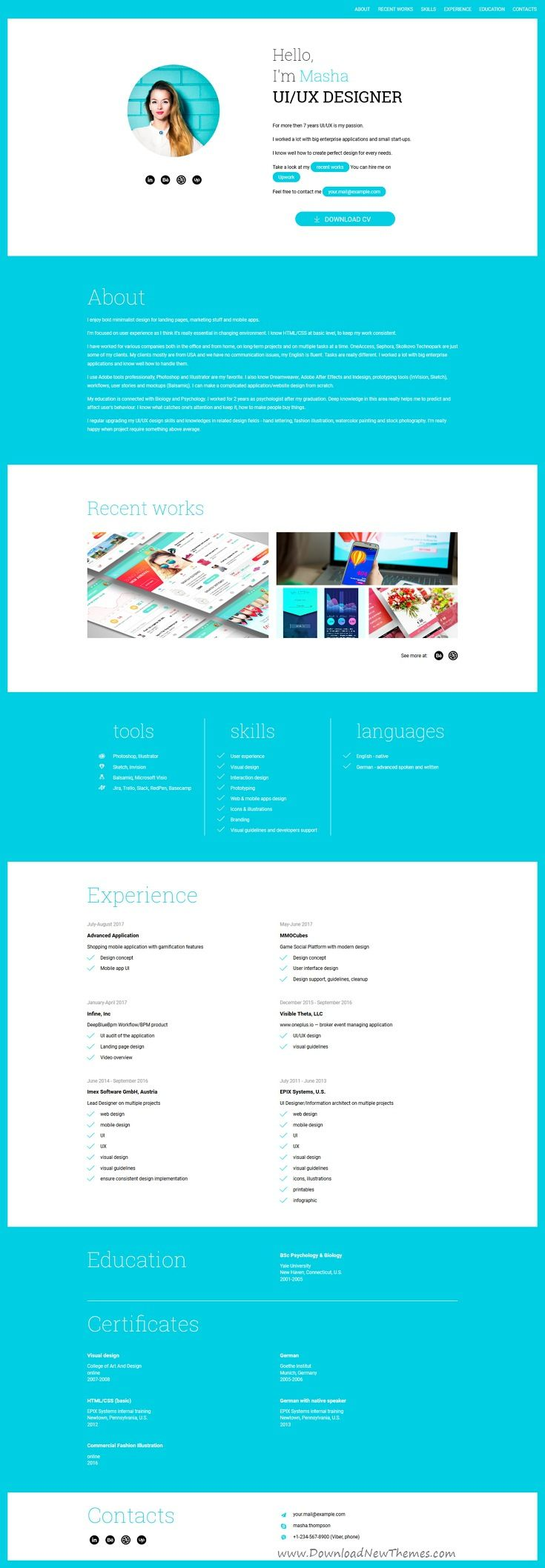 SimpleCV - Animated Responsive CV and Resume HTML5 Template | Resume ...