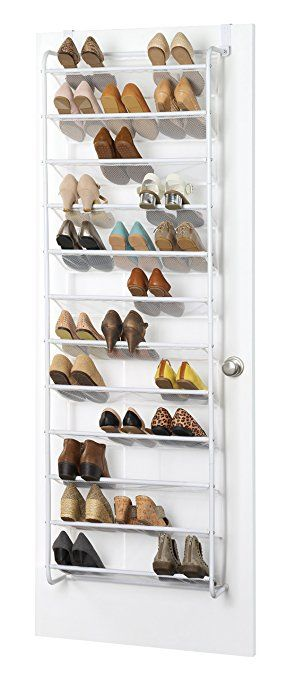 Whitmor 36 Pair Over The Door Shoe Rack, White