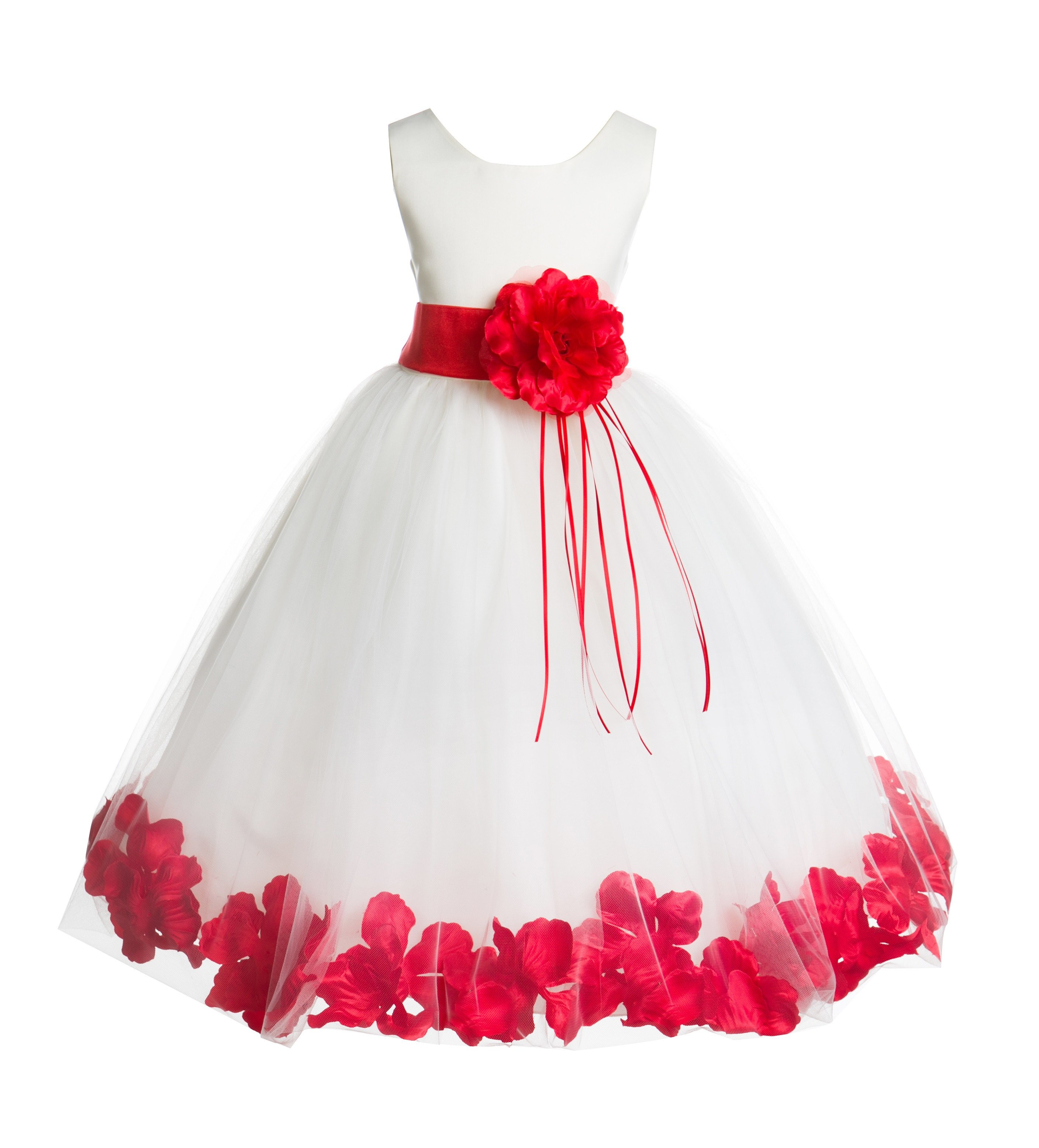 22be96f1987c WHITE DRESS WITH RED PETALS | For Ginger in 2019 | White flower girl  dresses, Red flower girl dresses, Red flower girl
