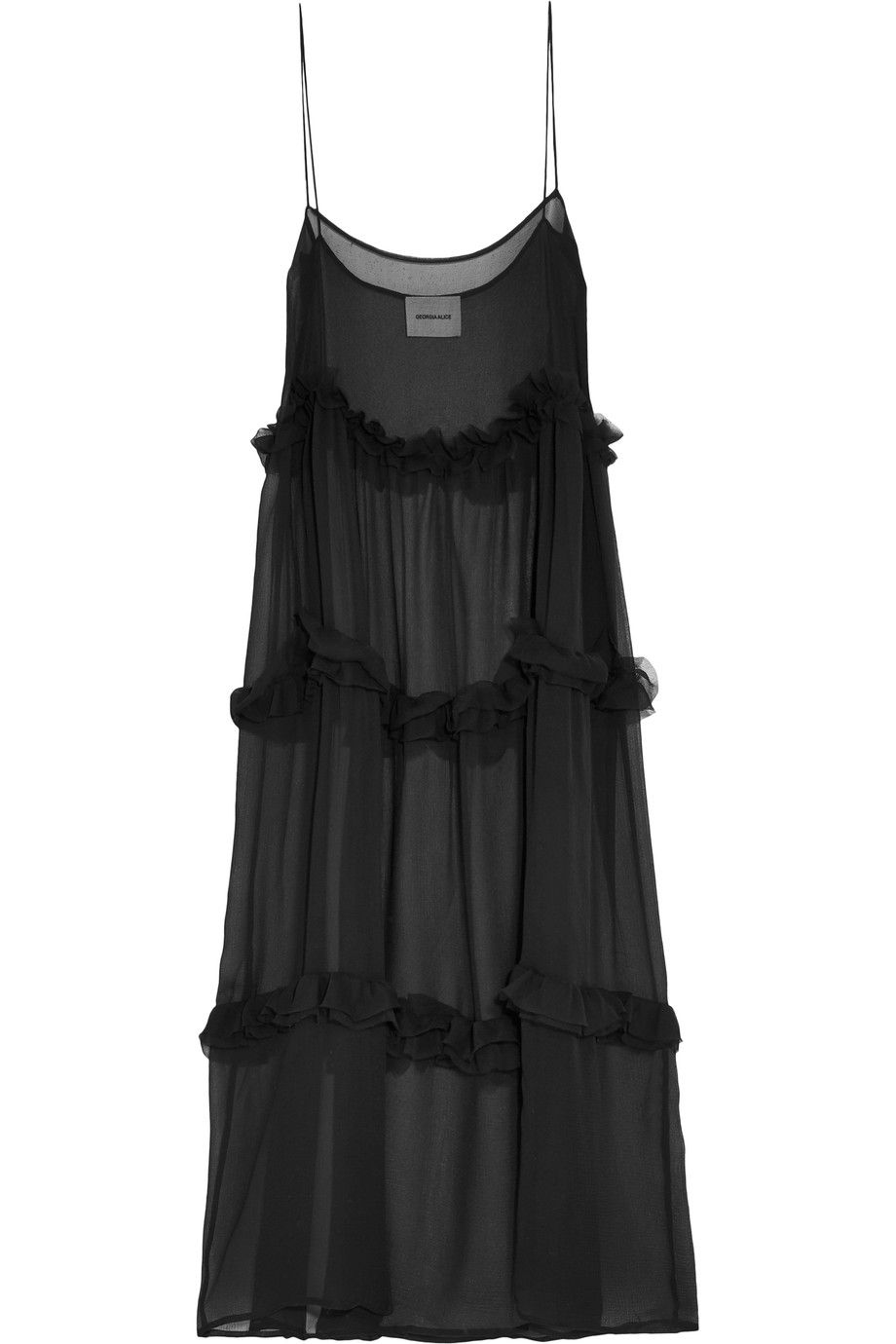 Fairytale Ruffled Crinkled Silk-chiffon Maxi Dress - Black Georgia Alice Clearance Pick A Best m2ZHkJqA