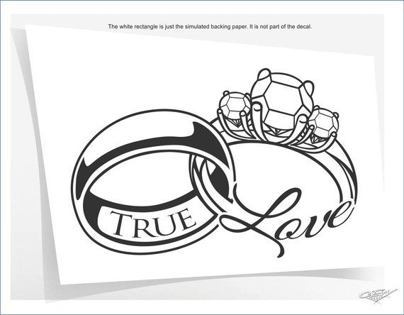 Items similar to Husband and wife wall decal, true love wall letters, wedding rings vinyl sticker, newlywed bedroom decor, anniversary gift idea, i love you on Etsy
