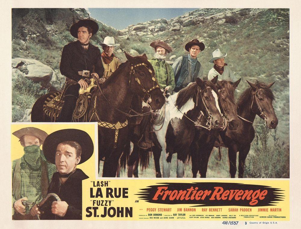 Lash Larue And Fuzzy St John On Horses In Frontier Revenge 11x14 Lc