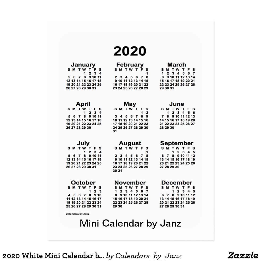 Small Business Saturday 2020.2020 White Mini Calendar By Janz Postcard Zazzle Com In