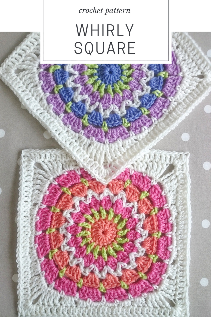 Whirly Square Is An Easy Crochet Pattern For An 8 Inch Crochet Block