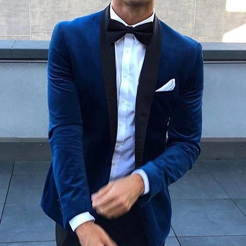 Navy Blue Velvet Wedding Tuxedos for Groom Mens Suits Two Piece Black Shawl Lapel Slim Fit Jacket Pants Custom Made Blazer