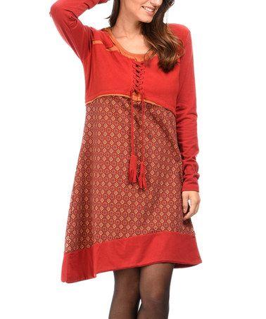 Red Geometric Tassel Shift Dress #zulily #zulilyfinds