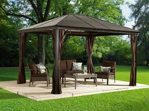 Buy Sumatra 10x10 Hard Top Gazebo With Mosquito Netting Us Deal Tikka Patio Gazebo Pergola Hardtop Gazebo