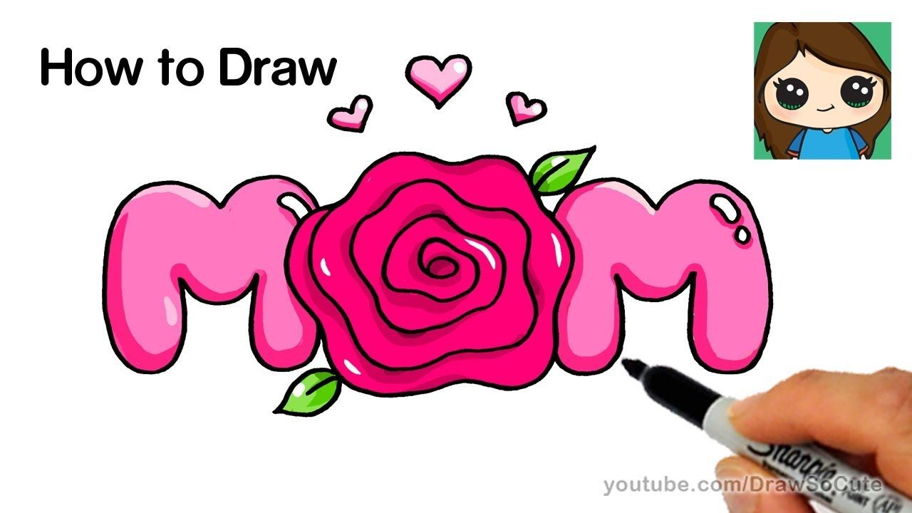How to Draw Mom Bubble Letters with a Rose Super Easy | Kids fun ...