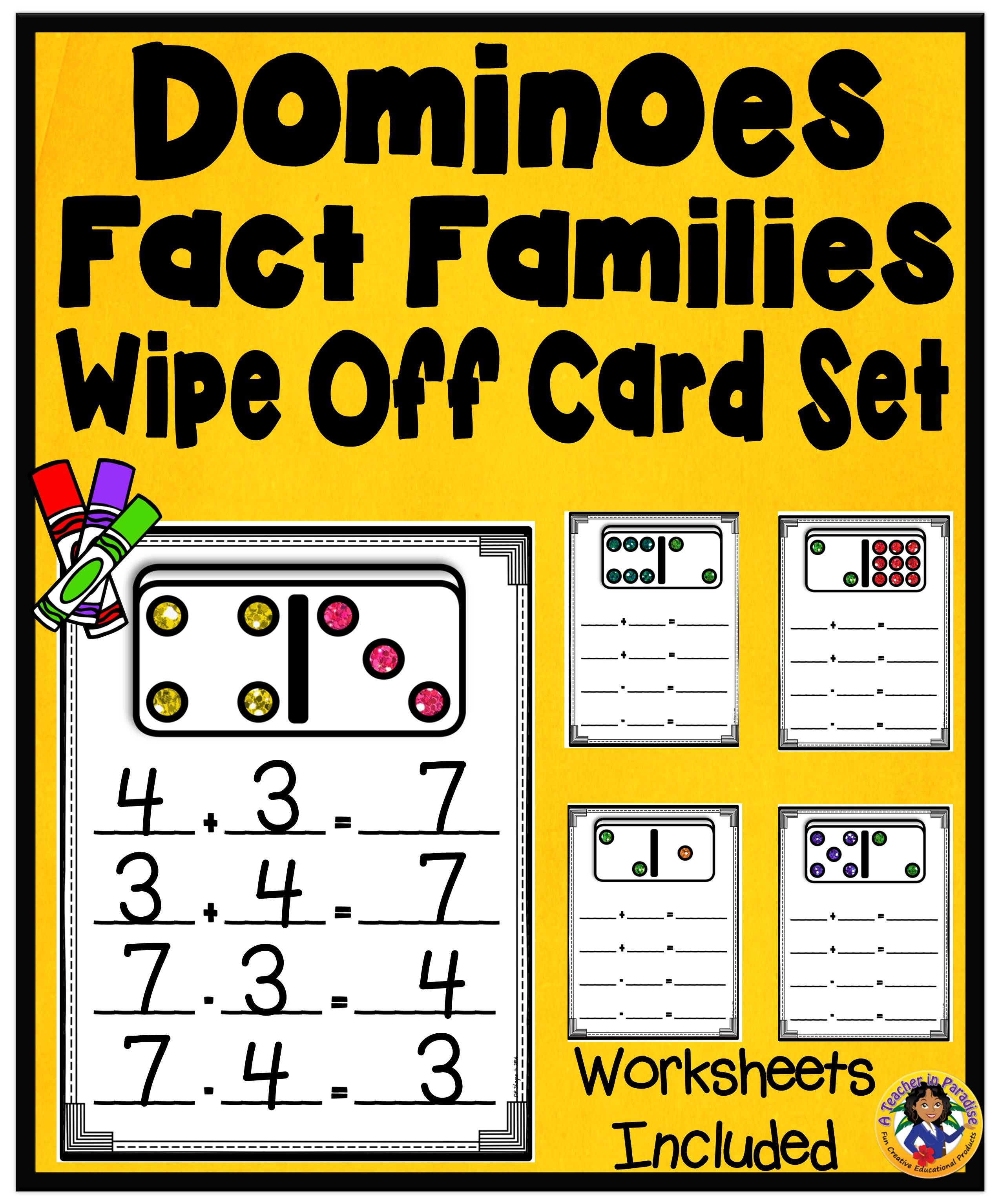 Dominoes Fact Families Wipe Off Mats Set
