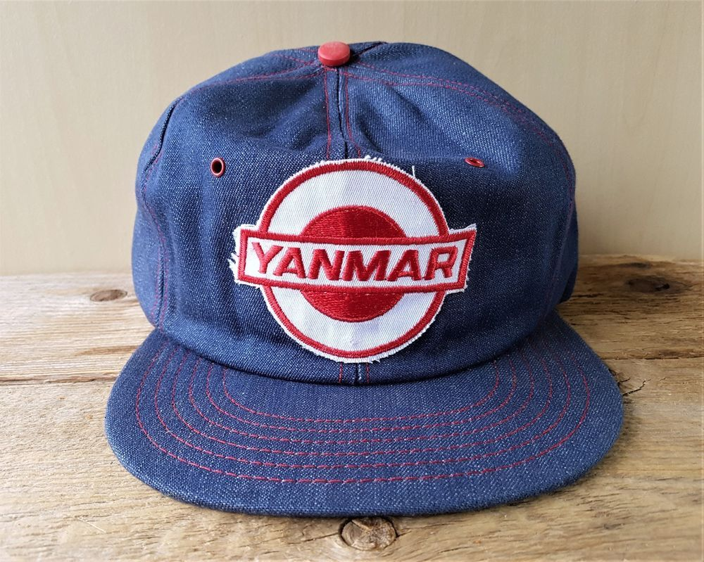 42fd4288 Vintage 1980s YANMAR Tractor Farm Equipment Denim Snapback Hat Jean Cap RARE!  #BaseballCap