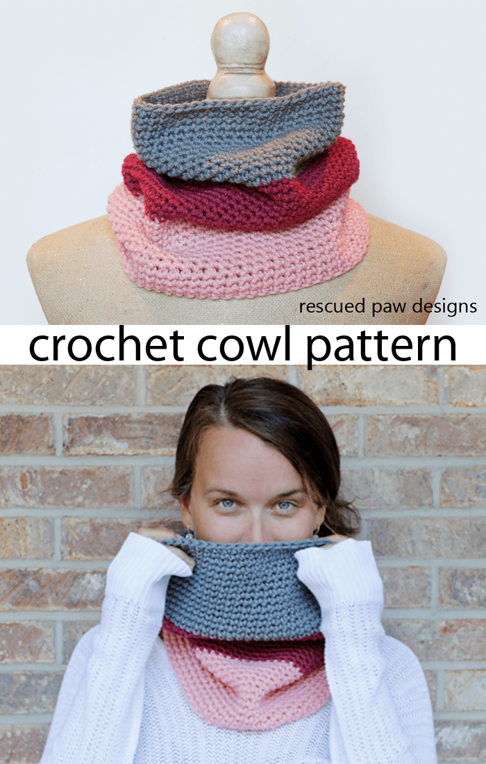 Leigh Color Blocked Crochet Cowl Pattern | Ganchillo y Deberes