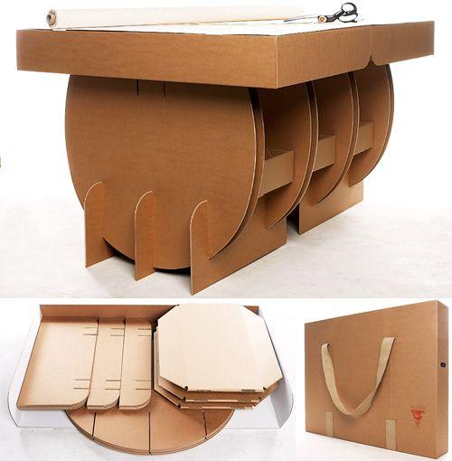 Portable cardboard cutting table ohgizmo design art for Amueblar piso entero