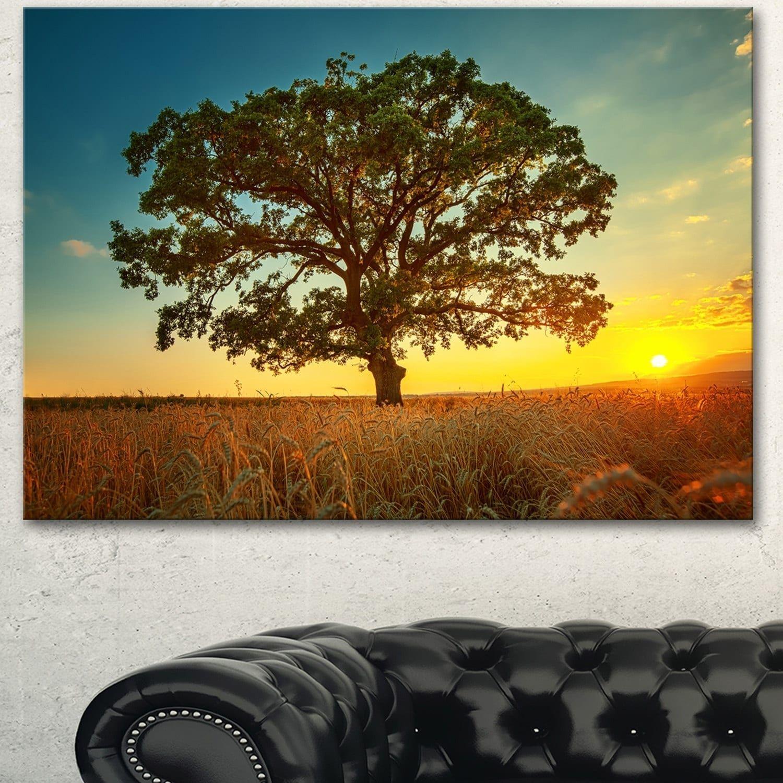 Designart ubig tree in summer fieldu modern trees canvas wall art