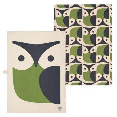 Orla Kiely Owl Set of 2 Tea Towels Pinned by www.myowlbarn.com