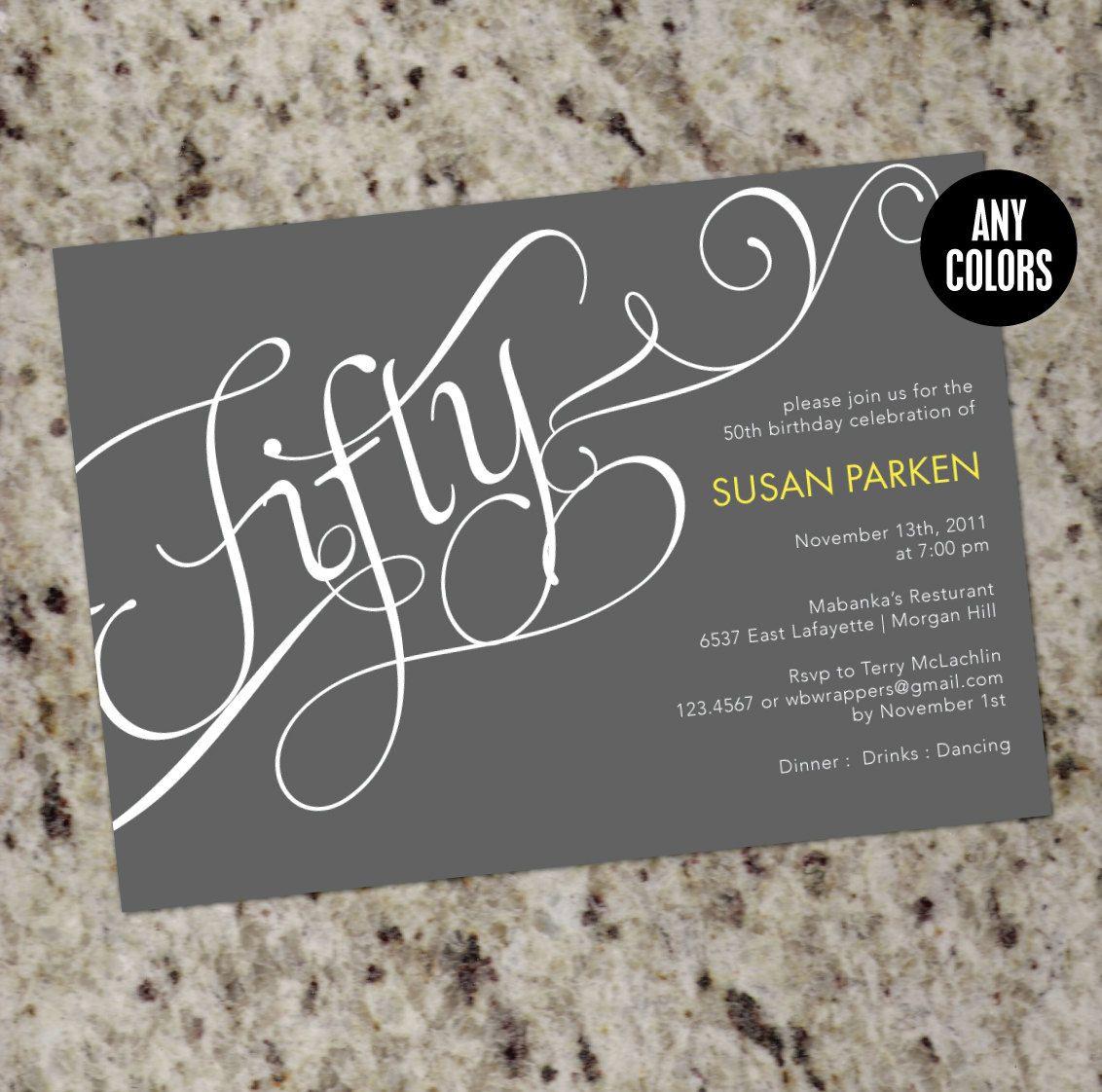 milestone birthday invitation or event invitation calligraphy