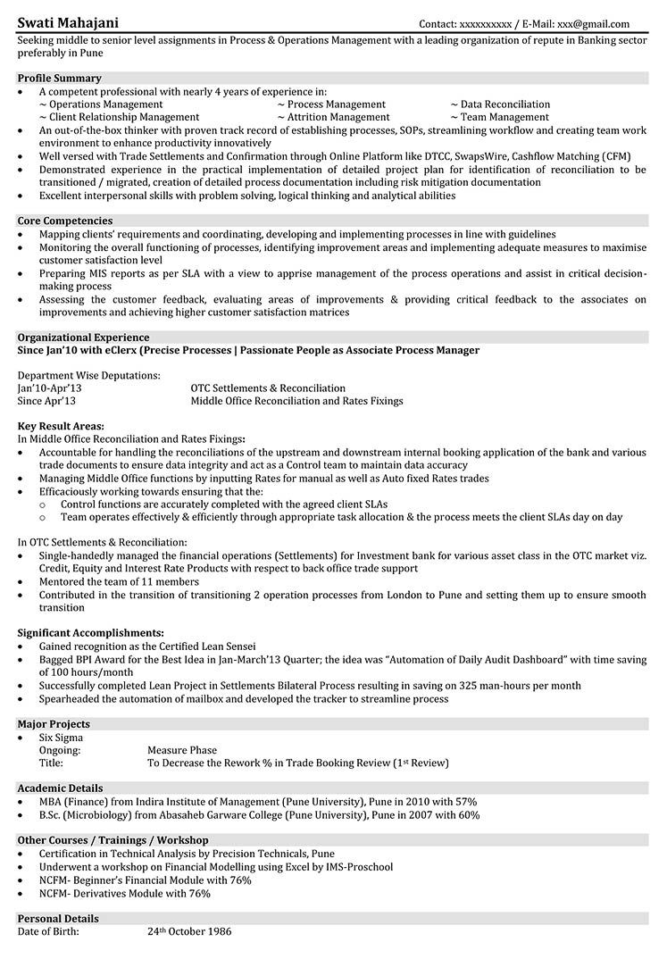 Six Sigma Resume Resume Format Manager  Pinterest  Sample Resume And Template