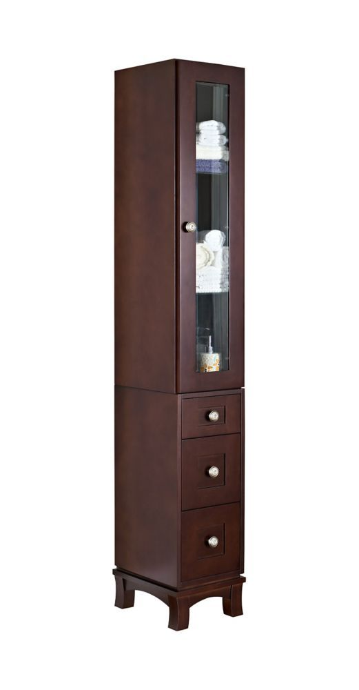 12 Inch W Solid Cherry Wood Linen Tower With Soft Close Door And Drawers In Coffee Finish Wood Veneer Tall Cabinet Storage Locker Storage