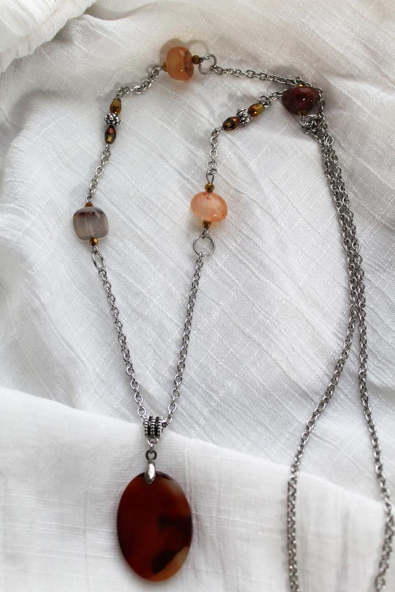 Boho Choker Necklace with Carnelian Crystal Silver Wire Pendant on Leather
