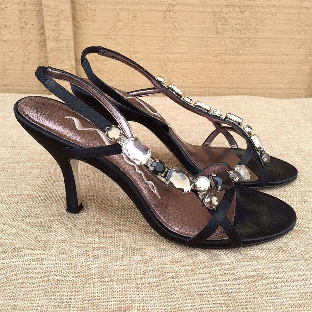 Nina Shoes Satin Jeweled Gems Evening Formal Black