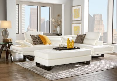 Nagoya White 3 Pc Sectional Living Room | Rooms to go ...