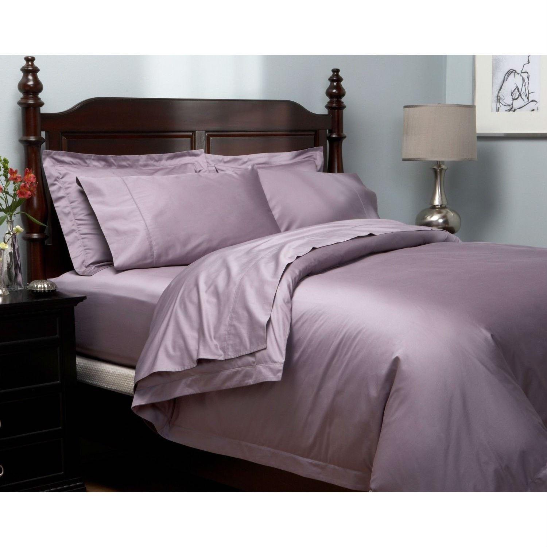 Full size 400-Thread Count Egyptian Cotton Sheet Set in Plum Purple ...