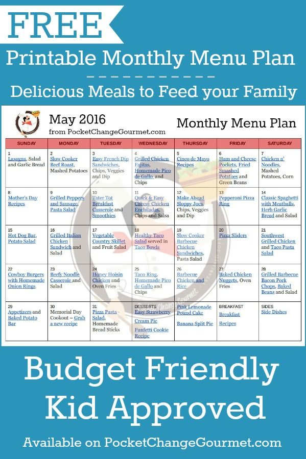 Weekly Menu Plan May 23 Monthly meal planning, Meal