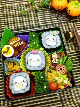 Ghost sushi roll bento