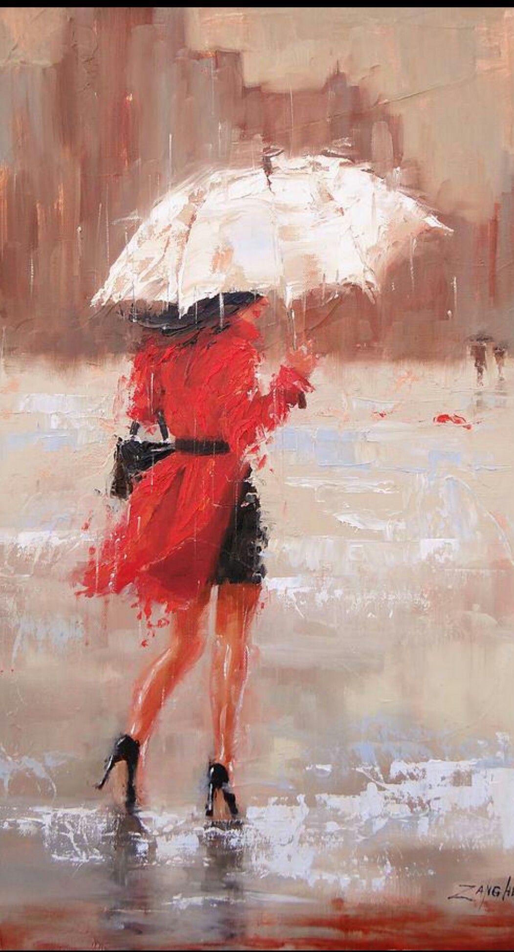 J Aime Art De Parapluie Peinture Abstraite Moderne Art Pluie