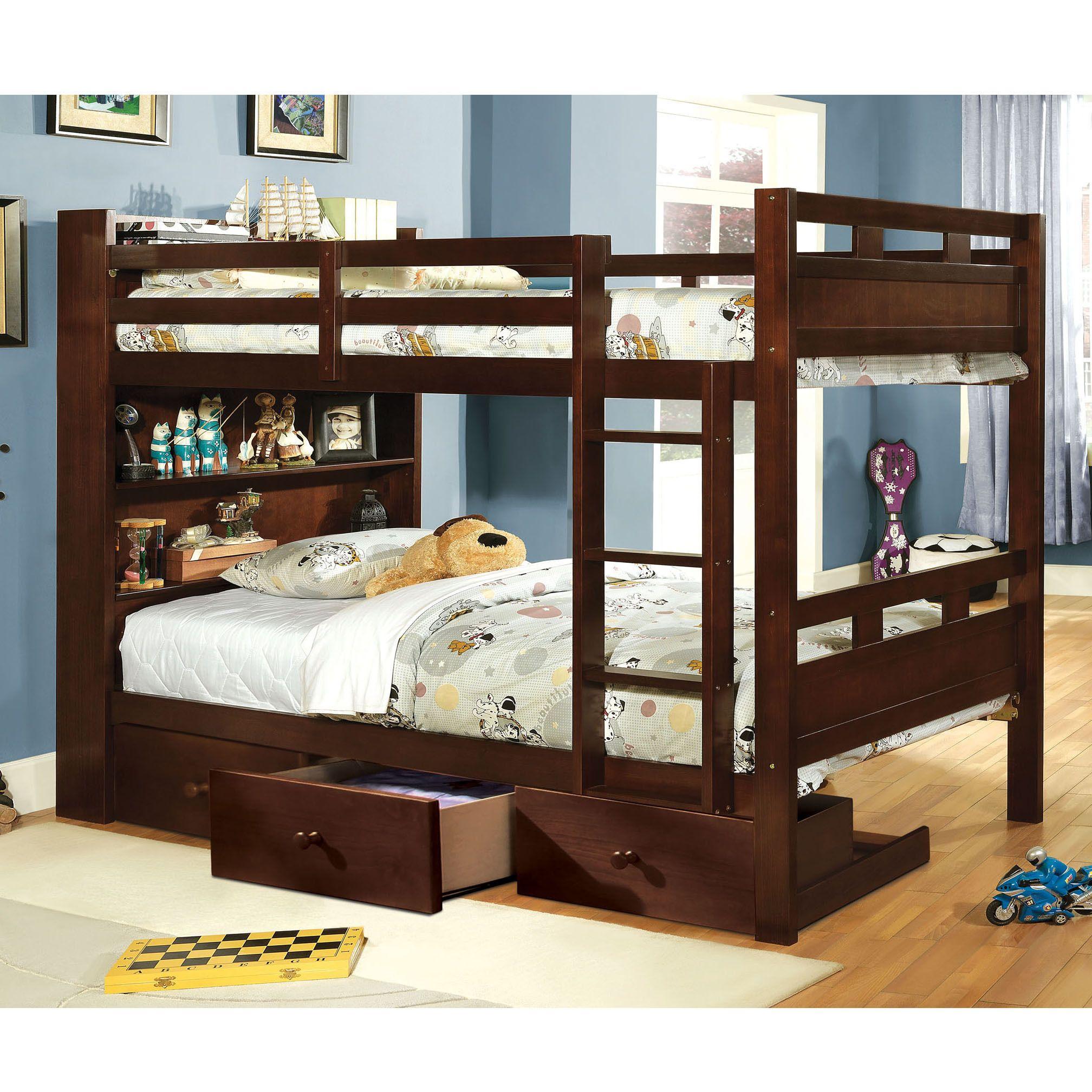 Twin loft bed ideas  Furniture of America Chessin Dark Walnut Bunk Bed with BuiltIn