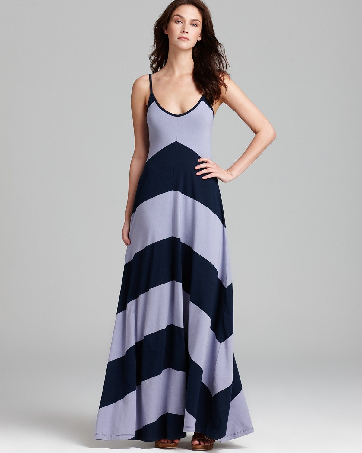 French connection maxi dress bold block chevron jersey