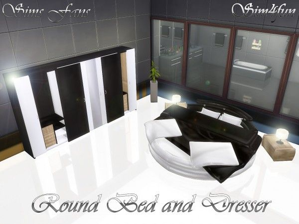 Sims Fans: Round Bed and Modern Dresser by sim4fun • Sims 4 Downloads