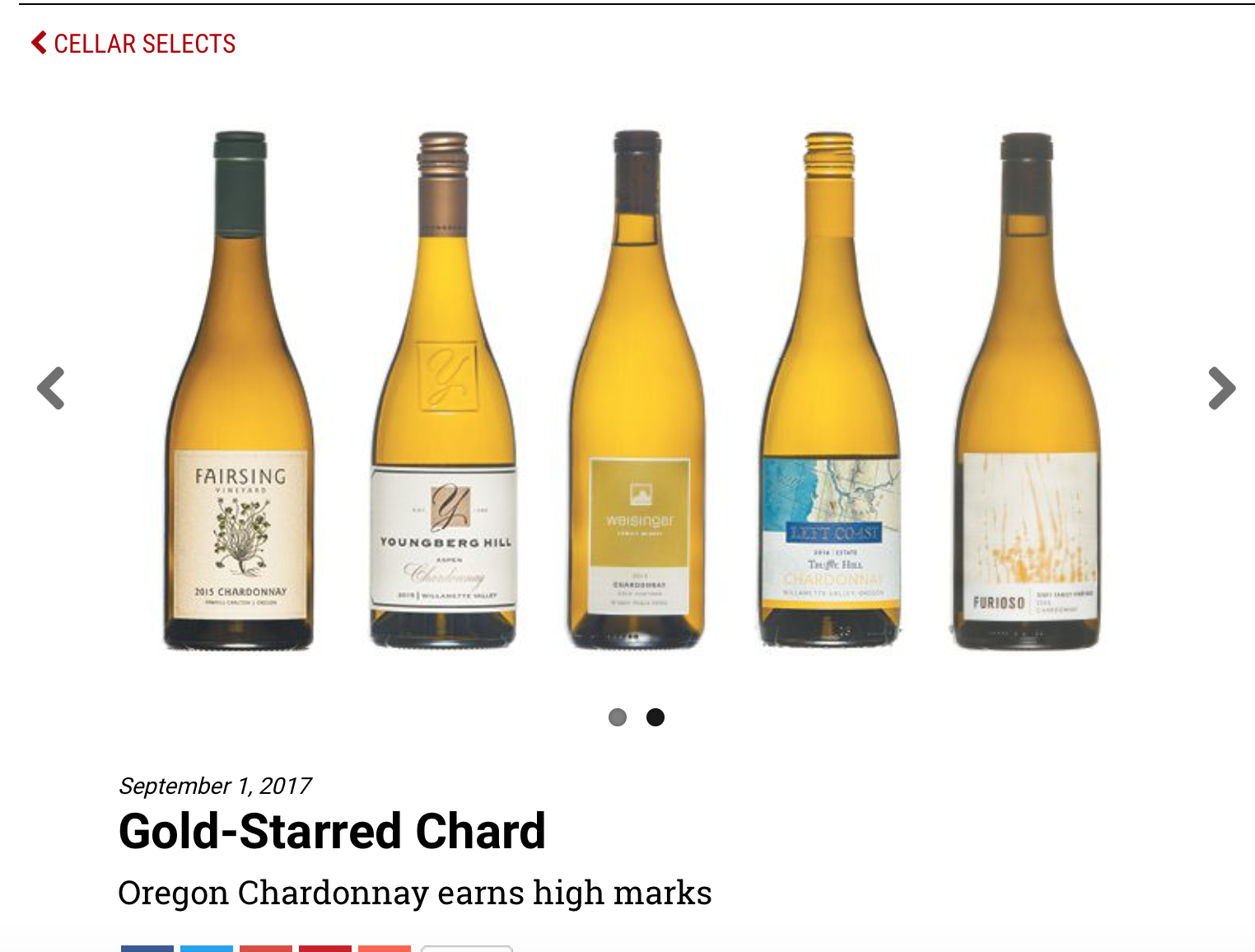 Fairsing Vineyard's 2015 Chardonnay is honored by the Oregon