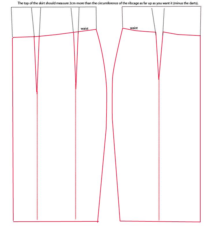 Patrón falda lápiz tiro alto | confección | Pinterest