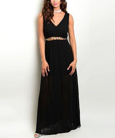This Black Cutout Sleeveless Maxi Dress is perfect! #zulilyfinds