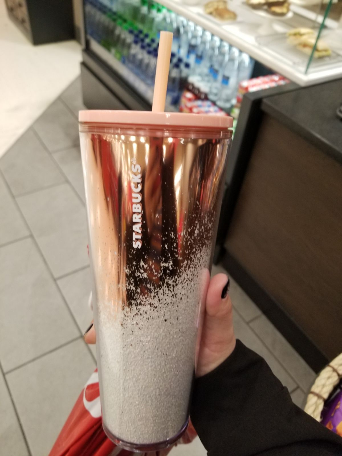 Starbucks 2019 Mirror Glitter Gold Cold Cup, Rose Gold