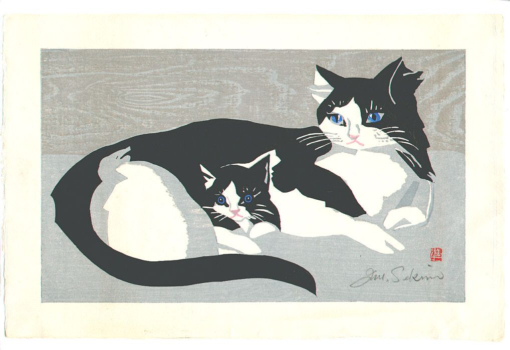 "Sekino Jun'ichirô (Japanese, 1914–1988) - ""Cat and Kitten"", woodblock print"