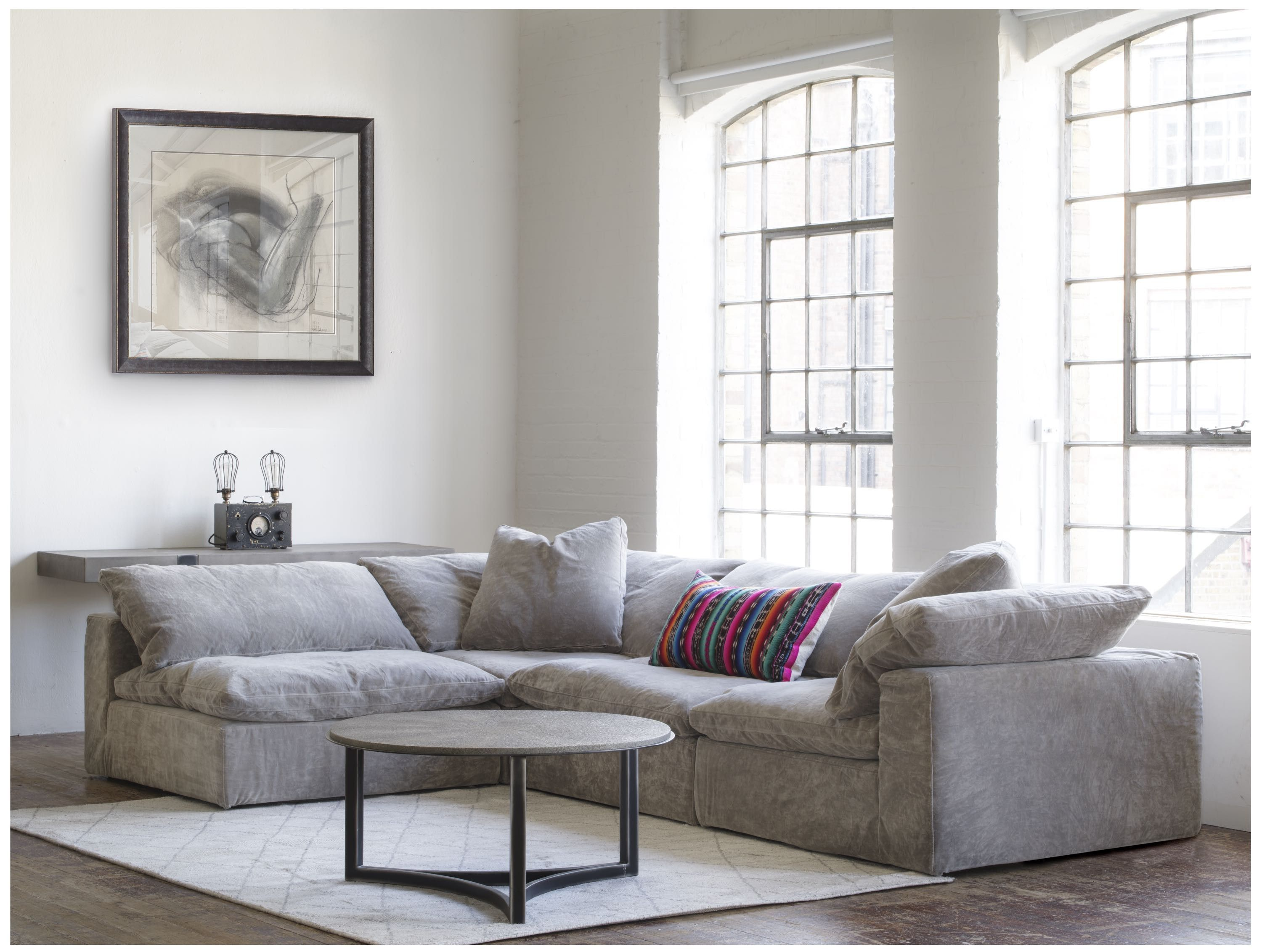 Truman Sectional Sofa In Grey Velvet Lifestyle (x 2 Corner Sections U0026, 2  Armless Sections), Arthur Coffee Table U0026 Shada Rug | Pinterest