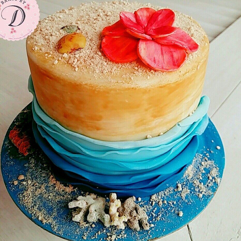 Simple Sea Themed Cake By Bakesbyd Blue Waves Cake Beach Theme