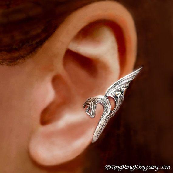 Sea Serpent ear cuff ear cuff Sterling Silver earrings ...