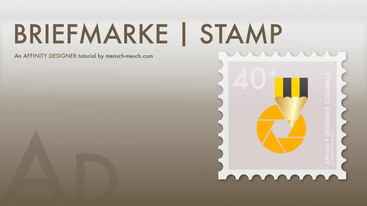 #15 Affinity Designer - Briefmarke [ DEUTSCH ] | Stamp [ GERMAN ] In this tutorial I will show you how to draw a stamp in a few steps with Affinity Designer 1.5.5. To create the teeth, I use a dotted line, where I expand the stroke into a shape and substract it from a square. This is the basis for the stamp and you can start with your own design.