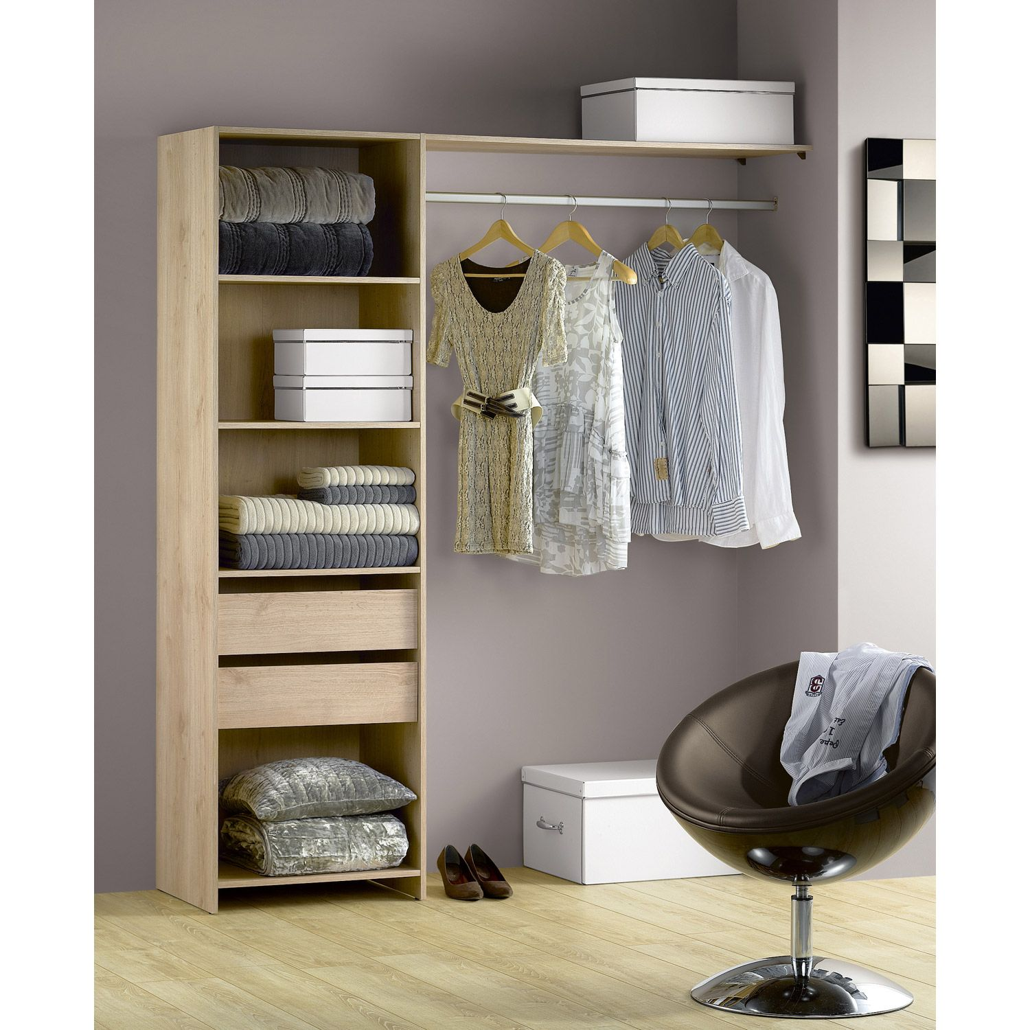 kit dressing ch ne naturel modul 39 kit h204 x l180 x p45 cm 80 leroy merlin dressing. Black Bedroom Furniture Sets. Home Design Ideas