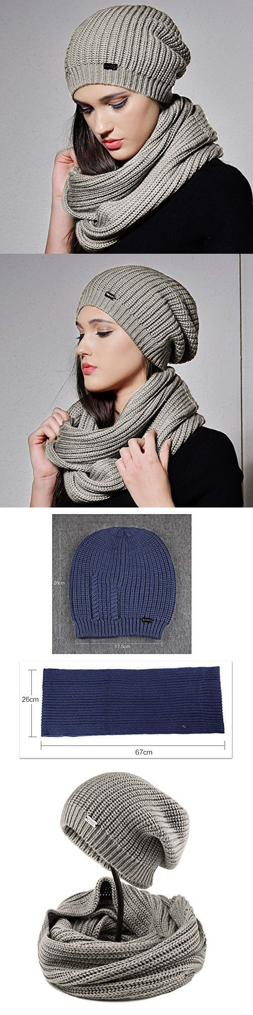 1be52d8a829 FURTALK Women Girls Merino Wool Slouchy Knit Beanie Hat Scarf Set Soft  Winter Crochet Cap (Grey)