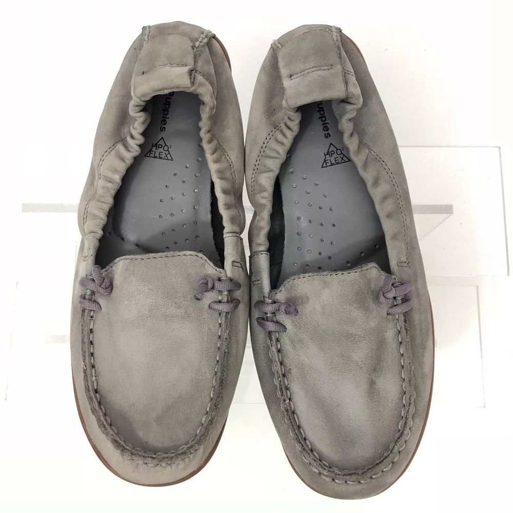 Hush Puppies Hpo Flex 7 5 Gray Flats Suede Leather Slip On Comfort Shoes Ebay Comfortable Shoes Suede Leather Leather Slip Ons