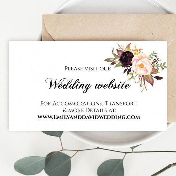 Burgundy flowers Wedding Website Card Template, Editable Wedding
