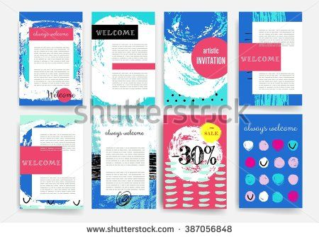 Template Set Of Trendy Posters With Hand Drawn Background Modern
