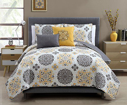 Amazon Com 5 Pc Yellow Grey And White Quilt Set Full Queen Size Bedding By Karalai Bedding Collection King Size Quilt Sets Modern Bed Set Quilt Sets